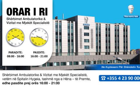 Shërbimi ambulator & Vizitat me mjekët specialistë deri në orën 21:00
